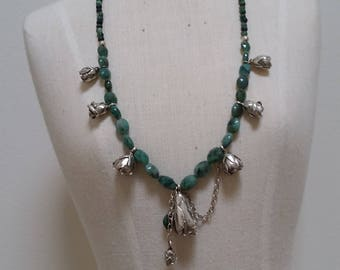 Emerald and Sterling silver rosebud necklace.