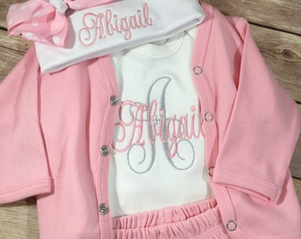 Baby Girl Coming Home Outfit Girl, Newborn Girl , Baby Monogram Clothes, Personalized Baby Gift, Newborn Photo Prop,  Baby Shower Gift
