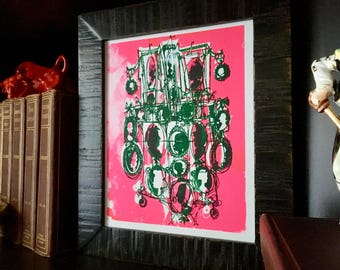 CAMEOS #050 |  screenprint, hot pink and evergreen by Kathryn DiLego (8x10)