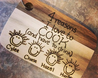 Funny engraved wood burned cutting boards handmade