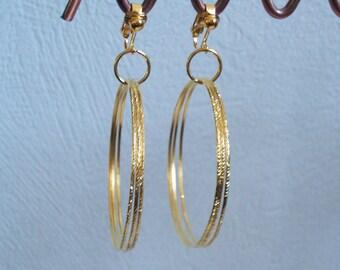Gold Triple Hoop Bangle Earrings - Pierced or Clip-on