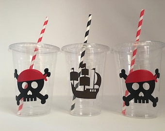 Pirate Party Cups, Pirate Birthday Cups, Pirate Baby Shower, Pirate Party Favors