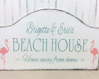 Personalized Beach House sign, custom cottage sign, shore house sign, pink flamingos, vacation house decor, realtor sign, beach bungalow