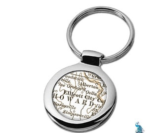 Map Keychain Ellicot City Maryland Key Ring Fob