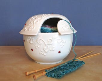 yarn bowl with a lid with ladybugs