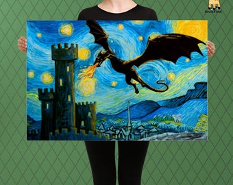 Game of Thrones Inspired, A Dragon in a Starry Westeros Sky, Parody Themed, Custom Raised Canvas Art Piece