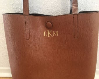 Brown Monogram Tote, Monogram Purse, Personalized Handbag, Gifts for Bridesmaids, Gifts for Her, Faux Leather Tote, Arrow Circle Tote