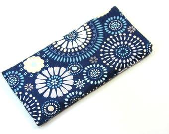 MANDALA Fabric case, Sunglasses case, Eyeglasses case, Blue mandala design bag, Blue case, Fabric bag