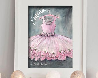 Ballerina Watercolor Ballet Bedroom Print, Personalized With Girls Name, Pink Tutu Gray Baby Girl Nursery Wall Art Decor, Dance Gift Idea