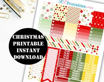Christmas Printable Planner Stickers // Erin Condren Printable / Plum Paper Planner / Holiday Printable Digital Download 00116