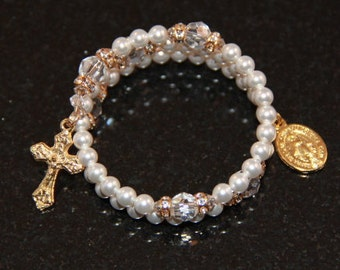 Baby Catholic Swarovski Crystal and Pearl Rosary Bracelet