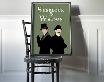 Sherlock Holmes Poster Sherlock and Watson Print Watson Art Sherlock Holmes Decor Holmes Dorm Decor Sherlock Fan Gift Baker St Novel Book