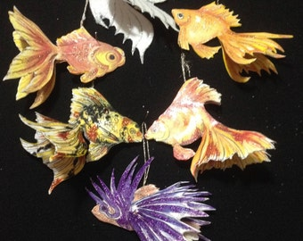 6 pc set 3 D handmade paper fish ornaments
