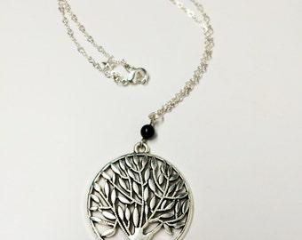 Antique Silver Filigree Tree Necklace