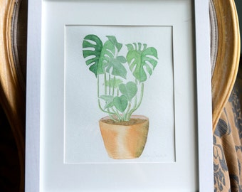 Tropical Plant Watercolor Painting, Monstera Plant Watercolor Painting