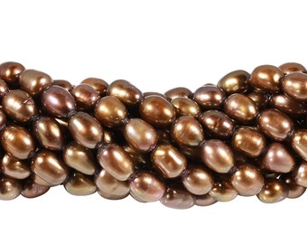 15 1/2 IN Strand 6-7x8-10 mm Freshwater Pearls Rice Shaped Beige to Brown Color (FWR1001004)