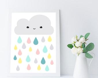 nursery wall art printable - kids room art - nursery decor - baby wall art - girls room decor - cloud print - kawaii nursery art print - A4