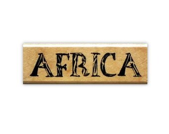 AFRICA word mounted rubber stamp, tribal, travel journal stamp, Sweet Grass StampsNo.17