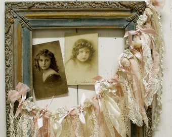Vintage lace Pink garland frame wall decor wreath