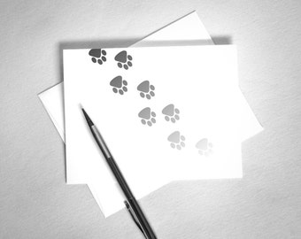 Pet Sympathy Card. Dog Sympathy Card. Cat Sympathy Card. Pet Memorial Card. Printable Card. Fading Paw Prints. Black and White.