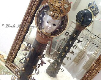 Time Keeper Totem Art Doll Steampunk Art Doll  Skeleton Key Theme OOAK Sculpted Assemblage Doll Lorelie Kay Designs