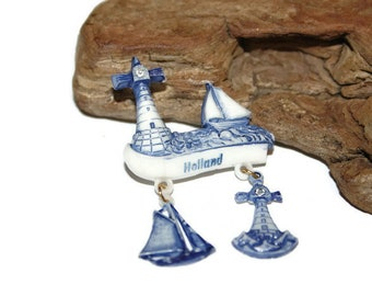 Plastic Holland Pin, Vintage Holland Souvenir Pin, Vintage Holland Tourism, Lighthouse and Sailboats, Nautical Collectibles, Blue and White