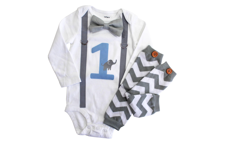 Elephant Birthday Outfit Baby Boy First Birthday Shirt