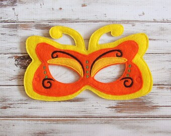 Yellow Butterfly Mask - Felt - Kids Mask - Costume - Imaginary play - Dress Up - Party Favor