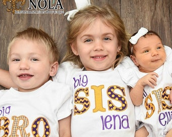 Sibling Set, Big Sister, Little Sister, Big Brother, Little Brother, New Baby, Baby coming home outfit, Purple and Gold Sibling Set