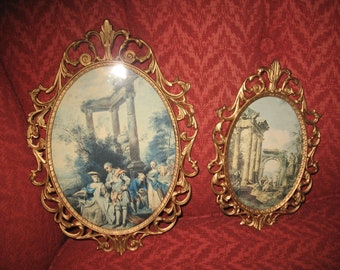 Metal photo frame made Italy.Baroque.Frames (2) oval frames.