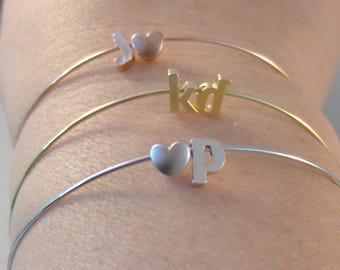 Personalized Initial Heart Bracelet,Silver Letter Bracelet Custom Bridesmaid Gift Silver Bracelet Personalized Wedding  Monogram Gift Her