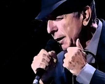 Art Print Leonard Cohen Print - Live On Stage 8 x 10 Print