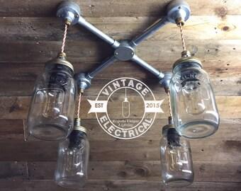 Les 4 Kenninghall x Kilner Cross Section suspension mason jar lumières plafond salle à manger chambre bureau cuisine table vintage edison à incandescence lampes p