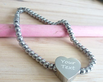 Heart Charm Ball Chain Bracelet Engraved with your Message