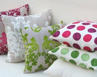 Spring pillow, damask pillow, Violet pillow, garden pillow, white beige pillow, green pillow, Arabian pillow, pois pillow cover