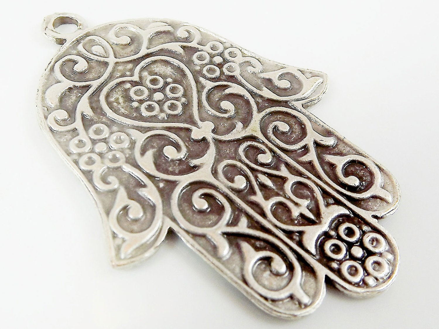 Ornate hamsa hand of fatima pendant charm silver plated zoom mozeypictures Image collections