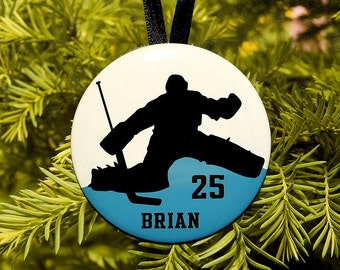 Ice Hockey Goalie Silhouette Christmas Ornament - team colors - customized - C129 athlete gift