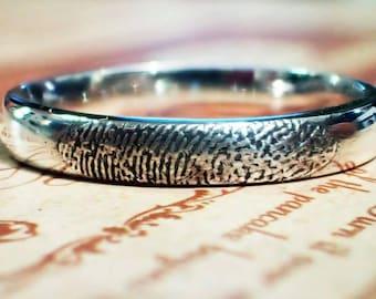 3mm fingerprint ring in sterling silver
