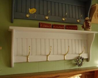 White Coat Rack Wall Shelf  36 inch with Tall Hooks 36 inch