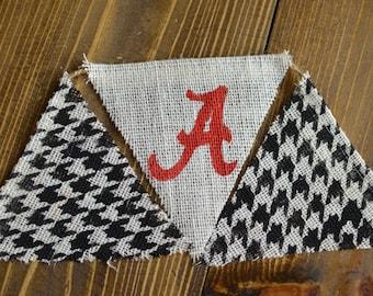 Alabama Roll Tide Crimson Burlap Bunting Banner