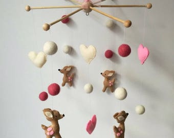 Baby mobile woodland Baby mobile girl Woodland nursery Deer mobile Nursery decor Baby girl mobile Crib mobile Felt mobile handmade Forest
