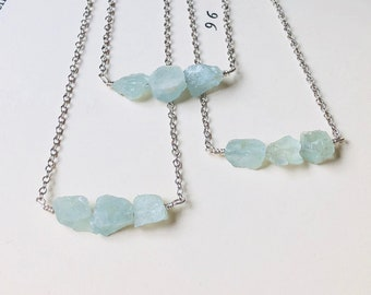 Raw Aquamarine Necklace - Rough Aquamarine Necklace - March Birthstone - Aquamarine Jewelry - Crystal Necklaces - Birthday