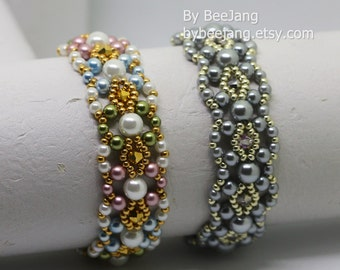 PDF Tutorial - Pearla bracelet Beading Instruction Instant download Beadweaving Pattern