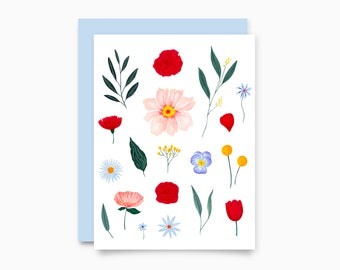 Floral White greeting card