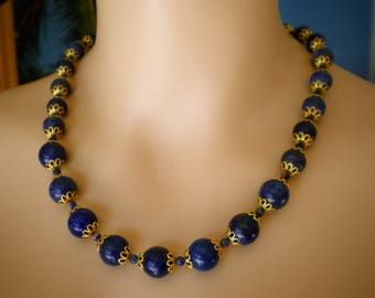 Wonderful  Necklace, made with Lapislazuli floating size Beads