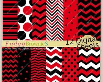 ON SALE digital paper backgrounds 7.5x11, red and black digital paper , chevron design , No.170 printable paper , red chevron Instant downlo
