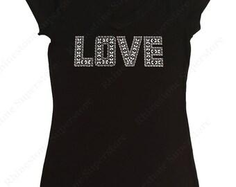 """Women's Rhinestud T-Shirt """" Silver Love """" in S, M, L, 1X, 2X, 3X"""