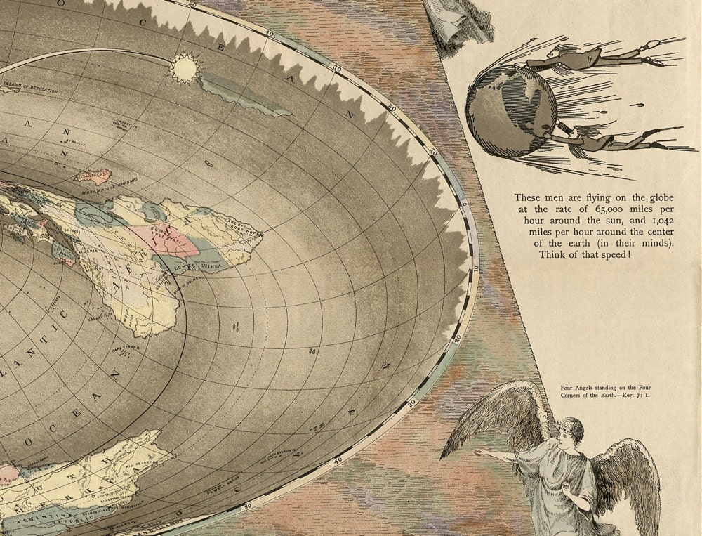 Flat earth map the square and stationary earth restoration world flat earth map the square and stationary earth restoration world map curiosities and oddities gumiabroncs Images