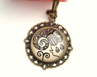 Aries Zodiac Necklace Ram Constellation Astrology Sign Henna Mehndi Vintage Style Hand Drawn Handmade Jewelry Courage Symbol Floral Design