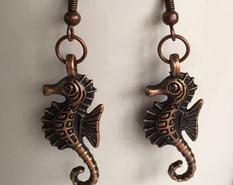 Seahorse Earrings - Copper Seahorse Jewelry - Animal Jewelry - Nautical Jewelry - Sealife Jewelry - Jewelry for Cruise